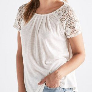 Lucky Brand Lace Raglan Short Sleeve Tee Cream